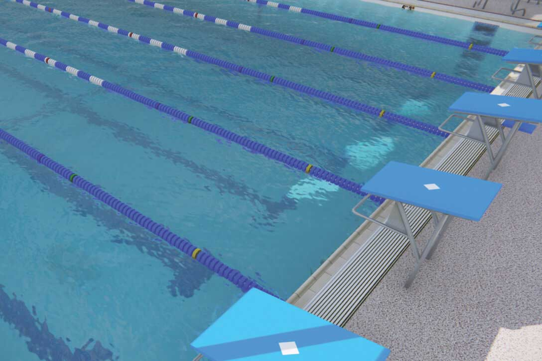 Two indoor lap pools for swimming classes